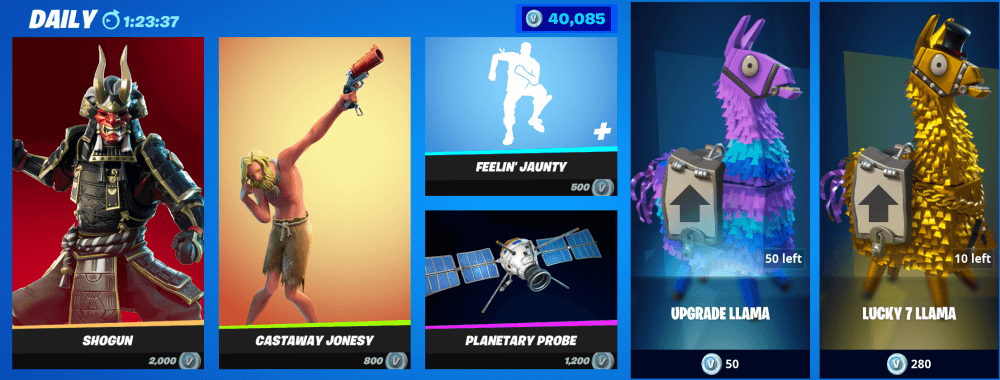 Fornite Battle royale and StW store
