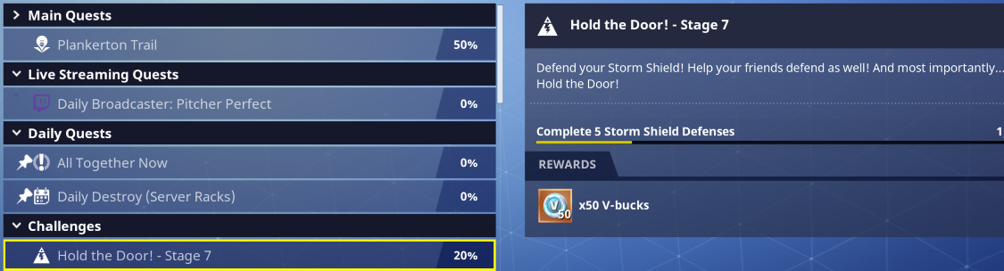 Side Quests rewards V-Bucks