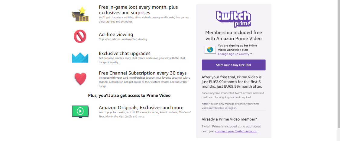 Claim Fortnite Twitch Prime trial